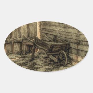old rustic wooden wheelbarrow oval sticker