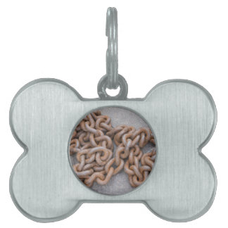 old rusty chain pet tag