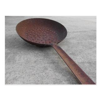 Old rusty frying pan postcard