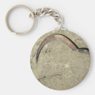 Old rusty sickle basic round button key ring