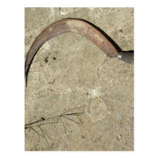 Old rusty sickle postcard