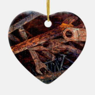 Old rusty tools. ceramic heart decoration