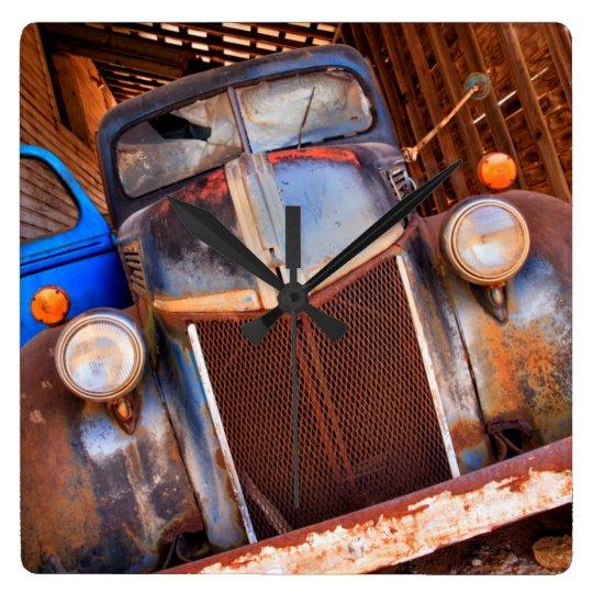 Old rusty truck on a farm wallclock