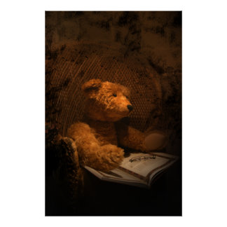 Old Sad Bear  Teddy Bear Poster