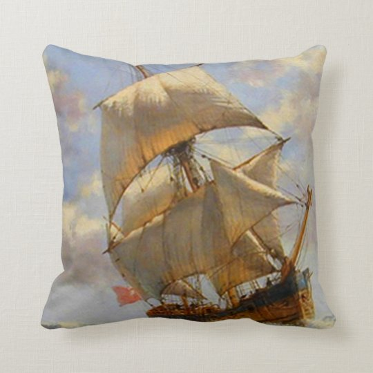 Old Sailing Ship Throw Pillows