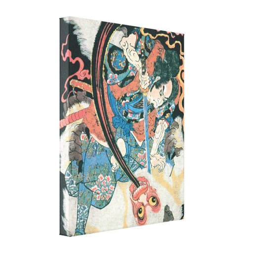 Old Samurai Killing a Monster Painting Stretched Canvas PrintOld Samurai Painting