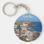 Old San Juan, Puerto Rico Coastline Basic Round Button Key Ring