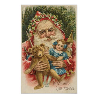 Old Santa and Toys Posters
