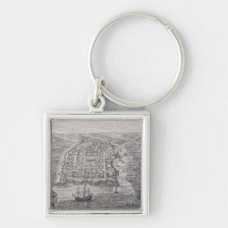 Old Santo Domingo City Silver-Colored Square Key Ring