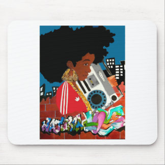 Old School Afro Girl Mouse Pads