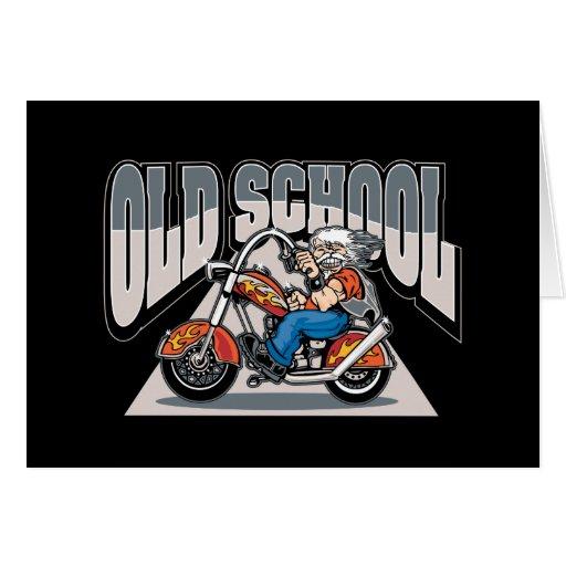 Old School Biker Greeting Card