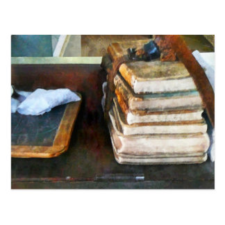Old School Books and Slate Postcard