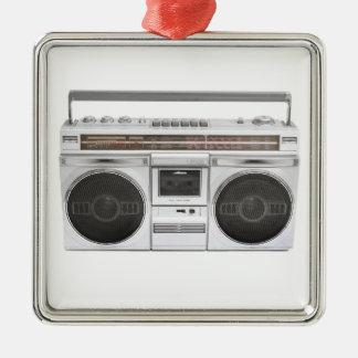 Old School Boombox Radio Silver-Colored Square Decoration