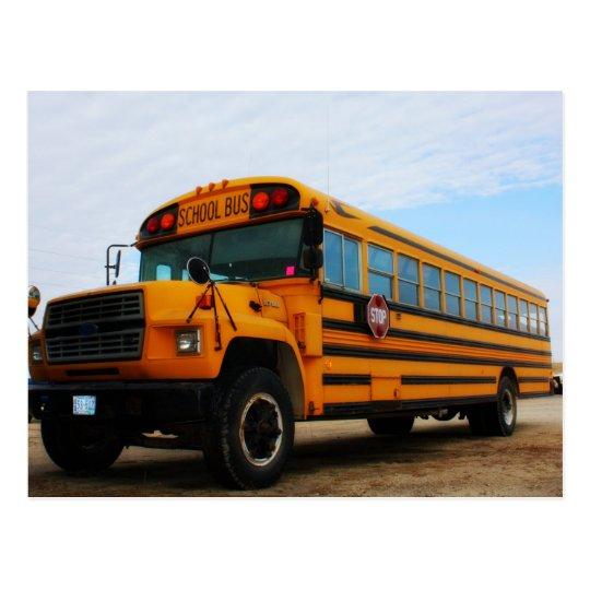 Old school bus postcard