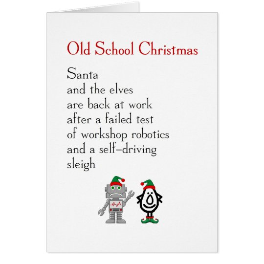 Old School Christmas - funny Merry Christmas poem Card