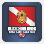 Old School Diver Square Sticker