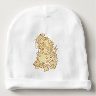 Old School Diving Helmet Underwater Drawing Baby Beanie