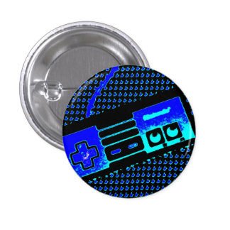 old school game controller 3 cm round badge