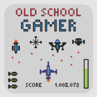 Old School Gamer - Spaceship - Sticker