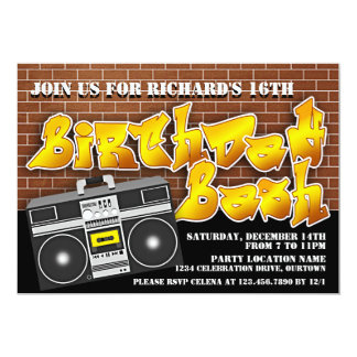 Old School Hip Hop Birthday Invitations