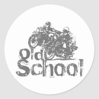 Old School Motorcycle Racing Round Sticker