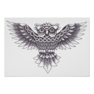 Old School Owl Tattoo Design Poster