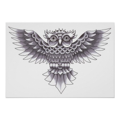 Old School Owl Tattoo Design Posters