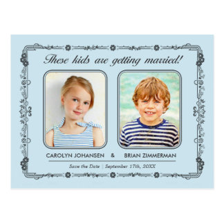 Old School Photos Save the Date Postcard | Aqua