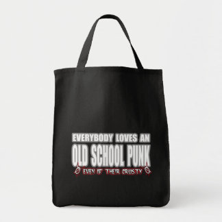 OLD SCHOOL PUNK ROCK guy girl crusty punks Grocery Tote Bag