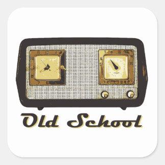Old School Radio Retro Vintage Square Sticker