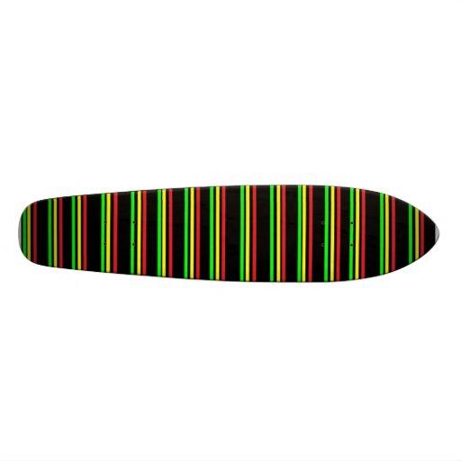 Old School Rasta Striped SkateBoard