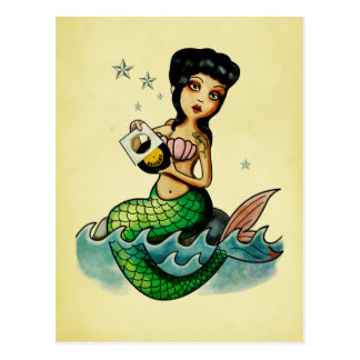 Old School Reggae Mermaid Postcard