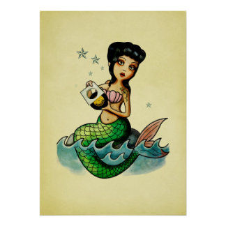 Old School Reggae Mermaid Poster