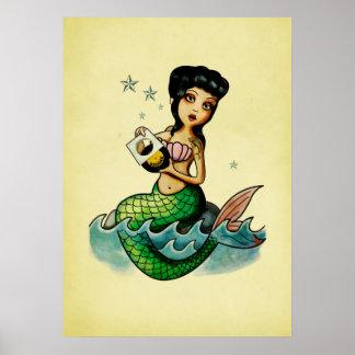 Old School Reggae Mermaid Poster