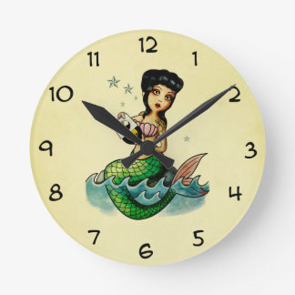 Old School Reggae Mermaid Round Clock
