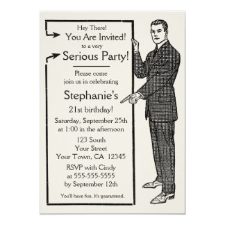 Old School Retro Guy Invitation