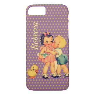 old school retro polka dots kitsch Vintage Kids iPhone 8/7 Case