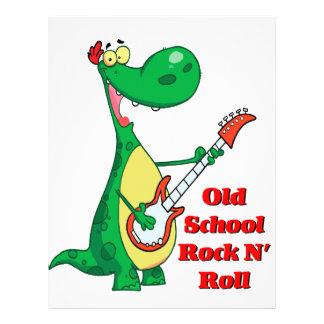 old school rock n roll dinosaur playing guitar custom flyer