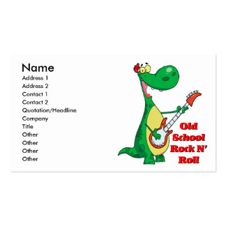 old school rock n roll dinosaur playing guitar pack of standard business cards