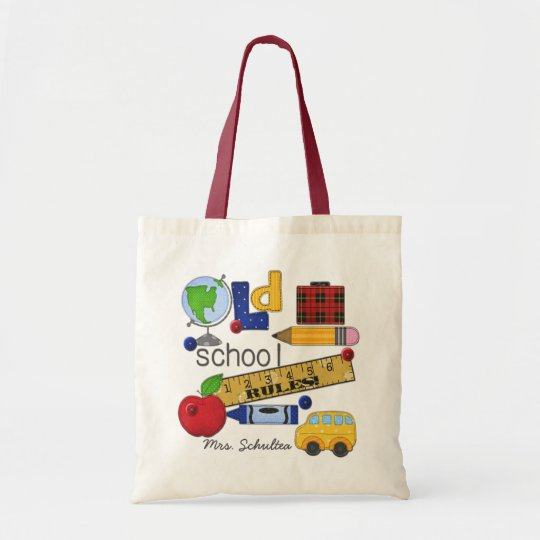 """Old School Rules"" Personalised Natural Tote Bag"