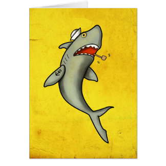 Old School Sailor Shark Greeting Card