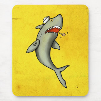 Old School Sailor Shark Mouse Pad