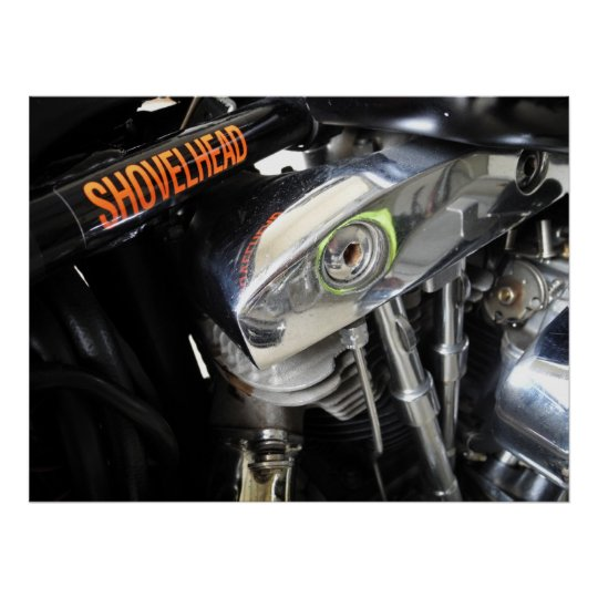 Old School Shovelhead Motorcycle Art Poster