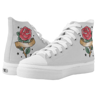 Old school style rose rockabilly tattoo high tops