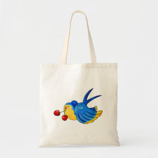 Old School Swallow with Cherry Budget Tote Bag