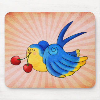 Old School Swallow with Cherry Mouse Pad