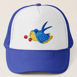 Old School Swallow with Cherry Trucker Hat