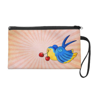 Old School Swallow with Cherry Wristlet Clutch
