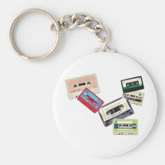 old school tape decks basic round button key ring