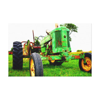 Old school tractor canvas print